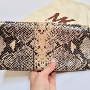 Michael Kors Bags - Michael Kors Beige Black Gold Snakeskin Clutch Bag